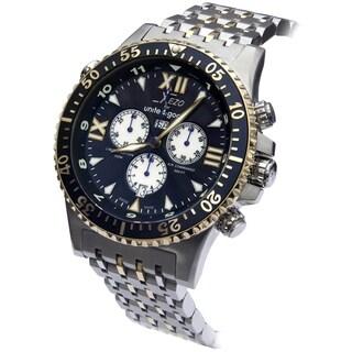 Xezo Men's Air Commando Swiss-Quartz Sport Chronograph Wrist Watch, 2nd Time Zone. Gold Accents. Day, Date. Waterproof 20 Bars