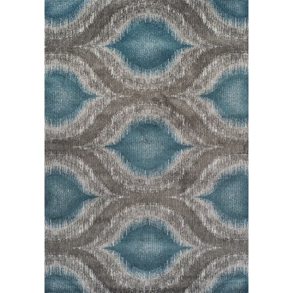 Addison Platinum Nebulous Peacock/Grey Area Rug (5' 3 X 7' 7)