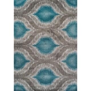 Addison Platinum Nebulous Peacock/Grey Area Rug (5' 3 X 7' 7)