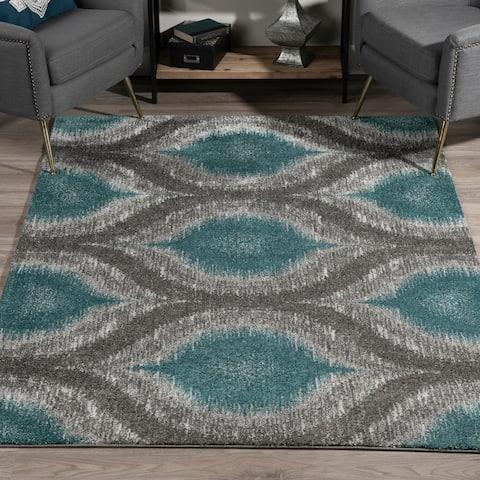 "Addison Platinum Nebulous Peacock/Grey Area Rug (5' 3 X 7' 7) - 5'3""X7'7"""