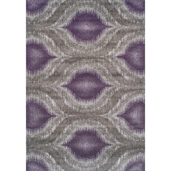 Addison Rugs Platinum Nebulous Eggplant/Grey Modern Area Rug (5'3 x 7'7)