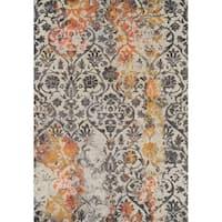 Addison Platinum Distressed Damask Gray/Orange Area Rug - 3'3 x 5'3