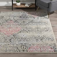 "ADDISON Platinum Vintage Damask Gray/Pink Area Rug (5'3""x7'7"")"