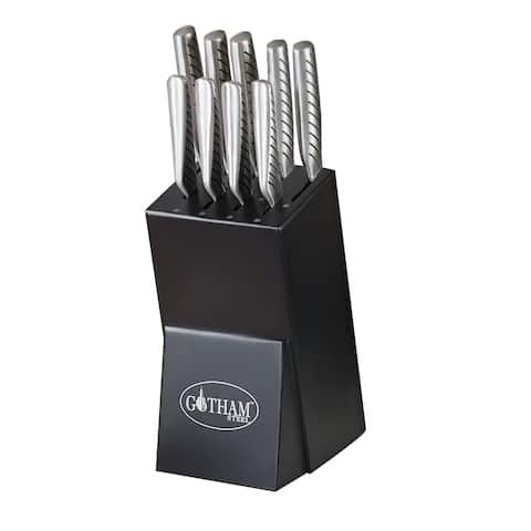 Gotham Steel Pro Cut Japanese Style Stainless Steel Super Sharp 10 Piece Set Knife Set with Wood Block