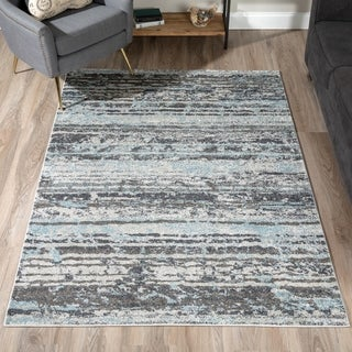 "ADDISON Blair Distressed Striped Blue/Gray Area Rug (4'11""X7')"