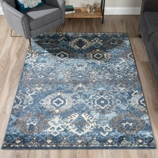 Addison Rugs Blair Blue/Beige Distressed Ikat Area Rug (4'11 x 7')