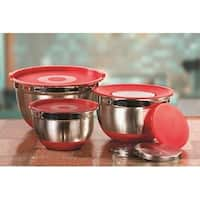 9-Piece Red Stainless Steel Mixing Bowl Set 3-Piece Kitchen Grater Set