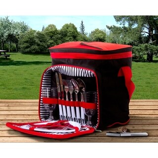 Insulated Picnic Basket Set (Red & Black)