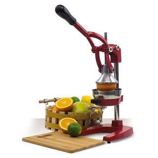 Cast Iron Manual Juicer Juice Press Lemon Citrus Juicer (Red)