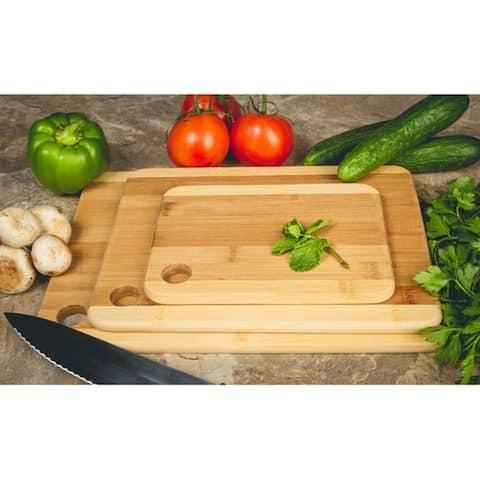 3 Pc Set Two-Tone Kitchen Cutting Board - Serving Board - Bamboo Board
