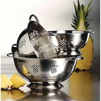 3Pc High Quality Pineapple Stainless Steel Deep Colanders / Strainers Set