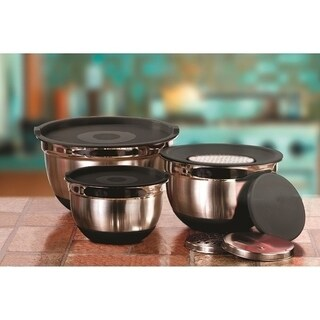 4 Pc Copper Stainless Steel Mixing Bowls w/ Silicone Bottoms