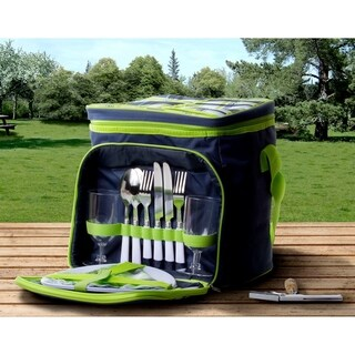Insulated Picnic Basket Set (Blue & Green)
