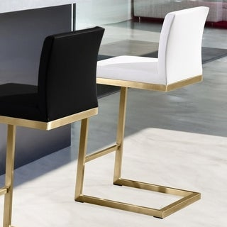parma white gold stainless steel ecoleather counter stool