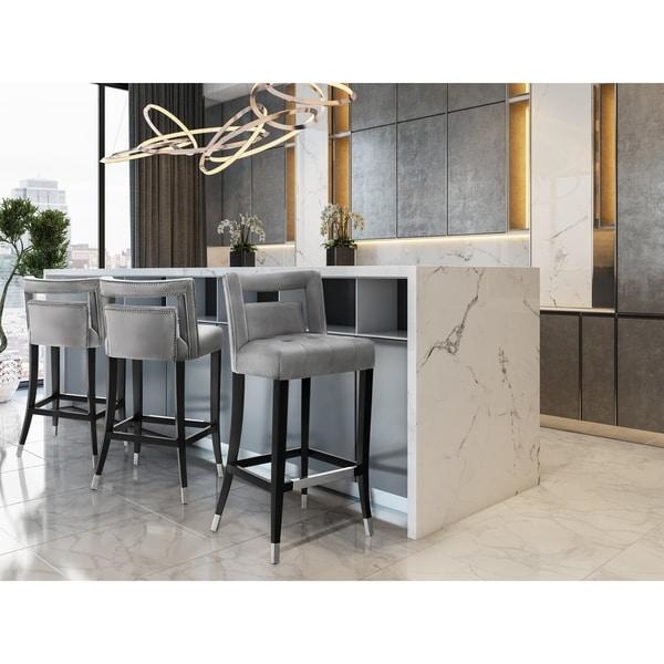 Hart Grey Velvet Bar Stool by Tov Furniture