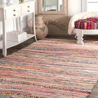 nuLoom Contemporary Multicolor Cotton Handmade Area Rug (5' x 8') - multi - 5' x 8'