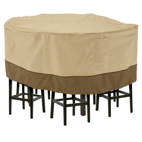 Classic Accessories Veranda Water-Resistant 94 Inch Tall Round Patio Table & Chair Set Cover