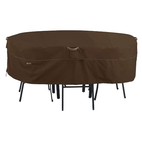 Classic Accessories Madrona Waterproof 108 Inch Rectangular/Oval Patio Table & Chair Set Cover