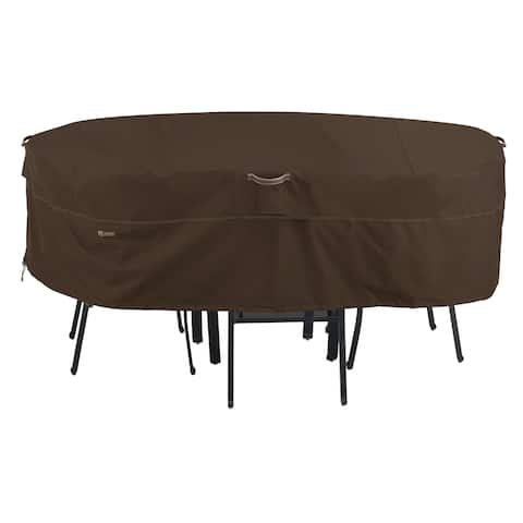 Classic Accessories Madrona Waterproof 128 Inch Rectangular/Oval Patio Table & Chair Set Cover