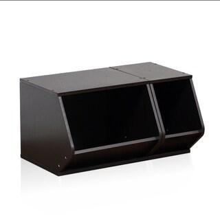 Furinno KidKanac Stacking Storage Set 2-in-1 151224EX, Espresso