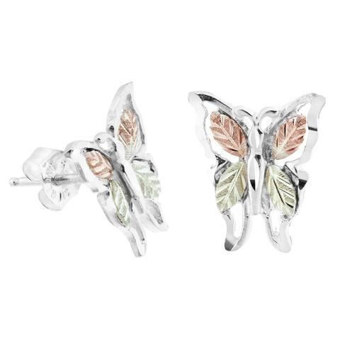 Black Hills Gold on Silver Butterfly Earrings