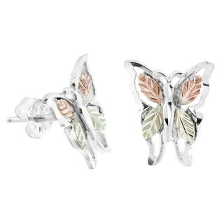 Black Hills Gold on Silver Butterfly Earrings