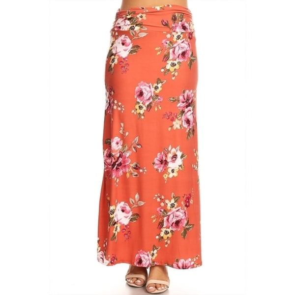 Women's Plus Size Floral Pattern Maxi Skirt