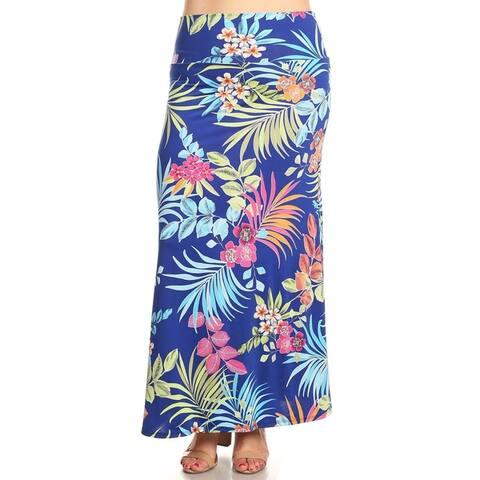 Women's Plus Size Floral Pattern Maxi Skirt