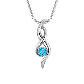Sterling Silver Infinity Necklace with Cushion-cut Gemstones