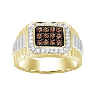 Two Tone Mens Ring 0.50ct Round White & Cappuccino Diamond 10kt Gold