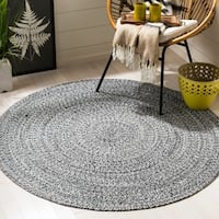 Safavieh Hand-Woven Braided Ivory/ Black Cotton Rug - 5' Round