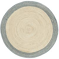 Safavieh Hand-Woven Cape Cod Ivory/ Blue Jute Rug (3' Round)