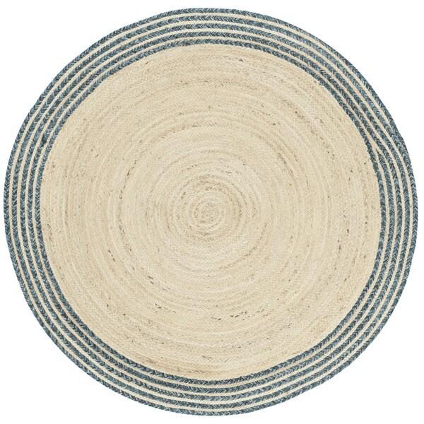 Safavieh Hand-Woven Cape Cod Ivory/ Blue Jute Rug (3' Round)