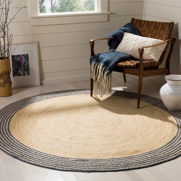 Safavieh Hand-Woven Cape Cod Ivory/ Blue Jute Rug - 5' x 5' round