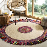 Safavieh Hand-Woven Cape Cod Ivory/ Red Jute Rug - 3' x 3' round