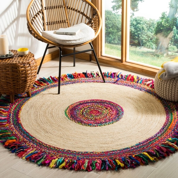Safavieh Hand-Woven Cape Cod Ivory/ Red Jute Rug - 5' x 5' round