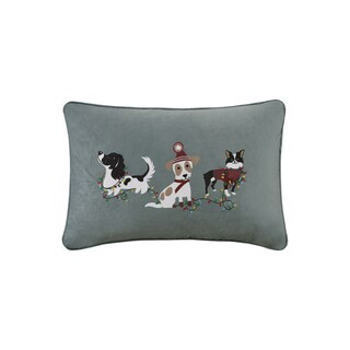 Madison Park Holiday Troublemakers Grey Printed Embroidered Oblong Decorative Throw Pillow