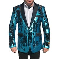 Turquoise Black Shiny Sequin Single Breasted One Button Blazer