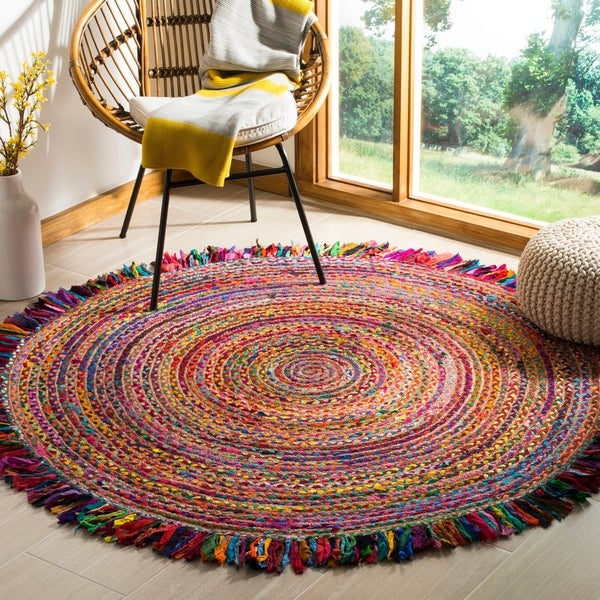 Safavieh Hand-Woven Cape Cod Ivory/ Red Jute Rug - 4' Round