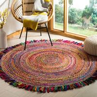Safavieh Hand-Woven Cape Cod Ivory/ Red Jute Rug - 5' Round