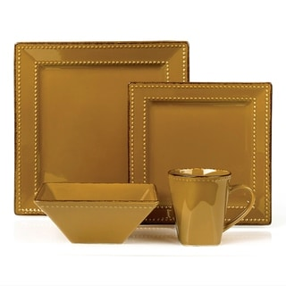 16 Piece Square Beaded Stoneware Set by Lorren Home Trends, Mocca