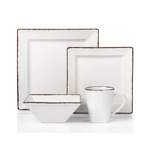 16 Piece Beaded Stoneware Dinnerware set by Lorren Home Trends, White