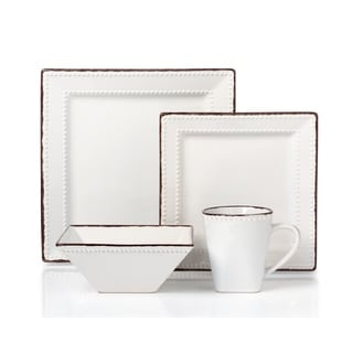 Link to 16 Piece Beaded Stoneware Dinnerware set by Lorren Home Trends, White Similar Items in Dinnerware