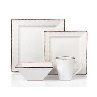 16 Piece Beaded Stoneware Dinnerware set by Lorren Home Trends White  sc 1 st  Overstock.com & 16 Piece Beaded Stoneware Dinnerware set by Lorren Home Trends ...