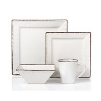 Shop American Atelier Bianca Bead White Square 16-piece Dinnerware ...