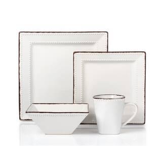 16 Piece Beaded Stoneware Dinnerware set by Lorren Home Trends, White