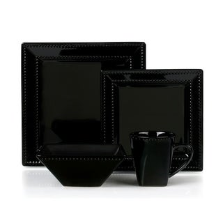 16 Piece Square Beaded Stoneware Set by Lorren Home Trends, Black