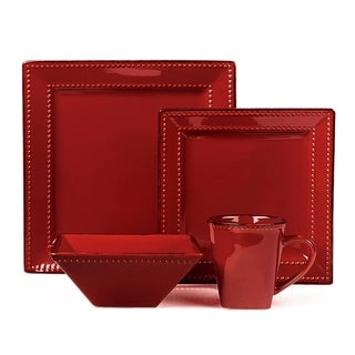16 Piece Square Beaded Stoneware Dinnerware by Lorren Home Trends, Red
