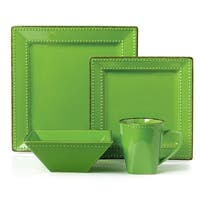 16 Piece Square Beaded Stoneware Set by Lorren Home Trends, Green