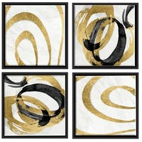 Aurelle Home Gold Wood Contemporary Modern Abstract Wall Decor (Set of 4)
